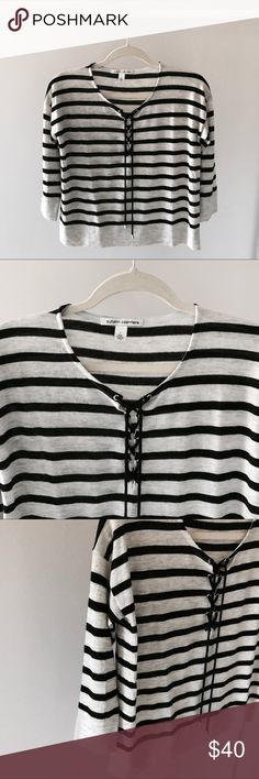Autumn cashmere striped lace up sweater Small Super cute lightweight striped cashmere sweater. Like new. Barely worn. Lace up detail. 3/4 length sleeves. 100% cashmere. Autumn Cashmere Sweaters Crew & Scoop Necks