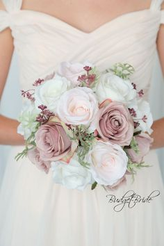 Ballet Pink Davids Bridal Wedding Flowers with blush, ballet and ivory roses with foliage