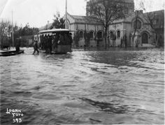 St. John's Church in Downtown Stockton, California during flood - 1890's