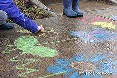 Chalk takes on a whole new texture when wet and the colors are twice as vibrant.