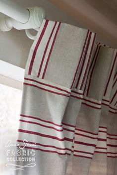 A double-width ticking in the Annie Sloan Fabric Collection. A horizontal stripe in soft white and red stripes with soft fawn colour stripes creates a light and elegant fabric. Using Chalk Paint, Chalk Paint Colors, Annie Sloan Chalk Paint, Farmhouse Style Curtains, Boho Chic Interior, Doors And Floors, Paint Color Palettes, Ticking Fabric, Antique Interior