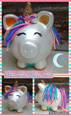 Unicorn Pig, Unicorn Party, Unicorn Birthday, Detergent Bottle Crafts, Diy For Kids, Crafts For Kids, Bleach Bottle, Crafts To Sell, Diy Crafts
