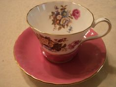 VINTAGE AYNSLEY PINK TEA CUP SAUCER SET PRETTY FLOWER PATTERN