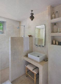 Interested in tadelakt, loam, concrete stucco, mortex, concrete finis Laundry In Bathroom, Bathroom Wall, Pool Bathroom, Basement Bathroom, Nature Bathroom, Neutral Bathroom, Master Bathrooms, Small Bathrooms, Bathroom Ideas