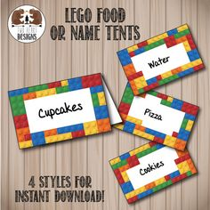 Lego Bricks Food or Name Tents. Instant Download. Printable/Digital File