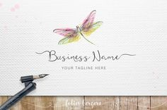 Dragonfly Logo Watercolor Logo Handpainted by FoliesBergere