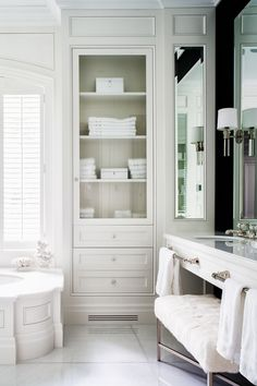 Wainscoted Tub with Glass Door Inset Linen Cabinet - Transitional - Bathroom - Home Decor Diy Bathroom, Small Bathroom Storage, Bathroom Closet, Toilet Storage, Bathroom Ideas, Bathroom Renovations, Bath Storage, Simple Bathroom, Bathroom Vanities