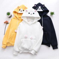 Kawaii Kitty Loose Hoodie - New Trend Kawaii Hoodie, Cute Hoodie, Kawaii Sweater, Teen Fashion Outfits, Cool Outfits, Casual Outfits, Fashion Dresses, Kawaii Fashion, Cute Fashion