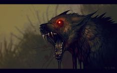 The wolf (deeper version) Fantasy Wolf, Dark Fantasy Art, Fantasy Creatures, Mythical Creatures, Wolf With Red Eyes, Der Steppenwolf, Demon Dog, Shadow Wolf, Werewolf Art
