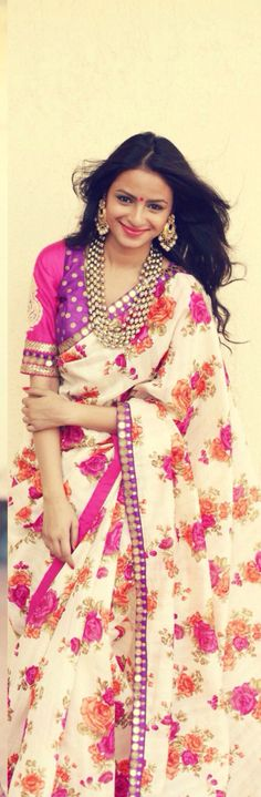 A floral saree by Ayush Kejriwal My current fascination is for these gorgeous floral sarees and lehengas with zari borders! Indian Attire, Indian Ethnic Wear, Ethnic Fashion, Asian Fashion, Indian Dresses, Indian Outfits, Desi Wear, Indian Couture, Beautiful Saree