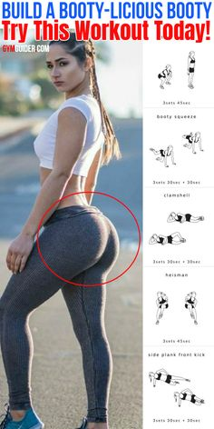 Womens Workout, Build Your Booty, Lose Fat, Can Be Done At Home Or The Gym Using A Dumbbar - Like everyone else, you& slammed. But if you want a better booty—sorry—you still have t - Summer Body Workouts, Gym Workout Tips, Fitness Workout For Women, At Home Workout Plan, Workout Challenge, At Home Workouts, Butt Workouts, Bigger Bum Workout, Bubble Butt Workout