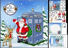 8x8 Dr Who Christmas mini kit on Craftsuprint designed by Carol Smith - a mini kit for for Christmas perfect for the young Dr Who fans has Santa stood with outside a Tardis which I think he must have traded for his sleigh, greeting tags provided say Who Who Who merry Christmas, Happy Hoo-lidays Merry Christmas, Merry Christmas grandson and merry Christmas son, also a blank tag for the greeting of your choice.sheet1 one has the main topper and some greeting tagssheet 2 has the decoupage ...