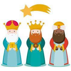 Imagen de Los tres Reyes Magos de aspecto sencillo y muy icónico, es ideal para acompañar a cualquier promoción sobre el Día de Reyes o Día del Niño.
