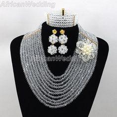 White African Nigerian Beaded Jewelry Set,African Nigerian Beaded Necklace,Crystal Beads Necklace,African Beaded Necklace