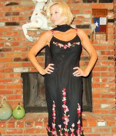Vintage Betsey Johnson Black Silk Dress Mid-Calf w/ Flowers  Rhinestones Size 8  #BetseyJohnson #Maxi #LittleBlackDress
