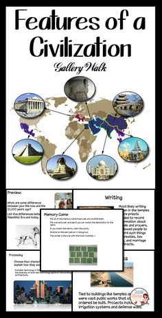 Features of a Civilization: There are 8 defining characteristics of a civilization – teach them to your students in a way that engages and excites them! This lesson is designed to teach the 8 features of a civilization with a gallery walk. Students will begin the lesson by comparing their life to what life was like thousands of years ago. They will then learn about the features of civilization by visiting different placards in a gallery walk and taking notes on a graphic organizer.