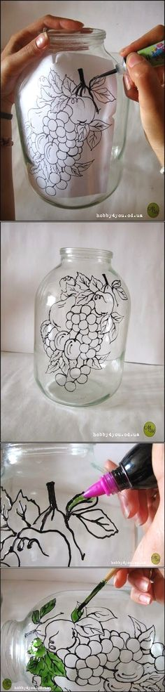 , Diy Projects: DIY Glass Art Probably with a different picture though is creative. , Diy Projects: DIY Glass Art Probably with a different picture though is creative inspiration for us. Get more photo about home decor related with by l. Glass Bottle Crafts, Bottle Art, Glass Bottles, Wine Bottles, Painted Bottles, Decorated Bottles, Wine Corks, Mason Jar Crafts, Mason Jars