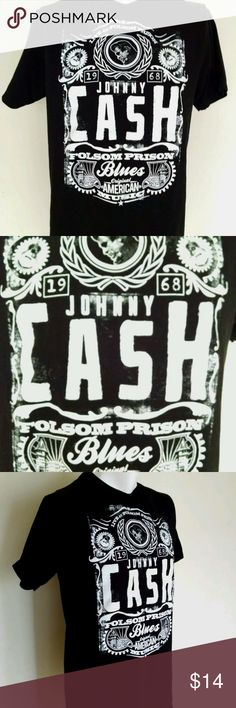 "Johnny Cash Folsom Black T-Shirt Size XL Men's Johnny Cash Live At Folsom Prison Black Short Sleeve Concert T-Shirt Look Sz XL  Very nice shirt  Black with white graphics  Size XL with the following measurements laid flat (pay close attention to measurements rather than size) Chest (armpit to armpit) 20"", Sleeves 14"", Length 30"" Shirts Tees - Short Sleeve"