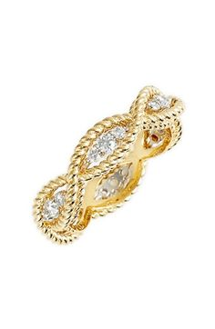 Free shipping and returns on Roberto Coin 'New Barocco' Diamond Band Ring at Nordstrom.com. The romantically themed New Barocco collection is carefully crafted with braided-gold detail. This Italian-made ring is further enriched by flickering diamond stations. And Roberto Coin's signature hidden ruby is there symbolizing health, happiness and prosperity.