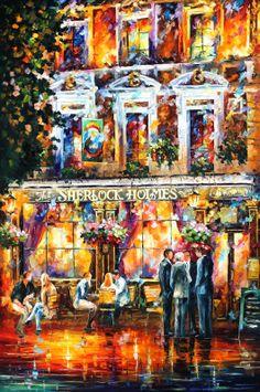"SHRLOCK HOLMES - Original Oil Painting On Canvas By Leonid Afremov - 47""X71"""