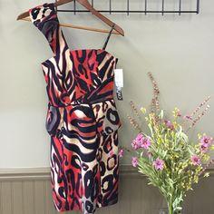 Xoxo Animal Print Peplum Dress Red and black animal print swirl design. One shoulder, peplum cut. XOXO Dresses One Shoulder