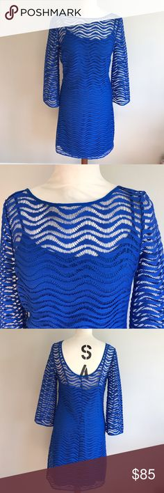 NWOT Sm Lily Pulitzer Topanga Blue Wave Lace Dress Sapphire blue wave lace dress perfect for  any summer soirée! Lilly Pulitzer Dresses