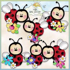 Lazy Ladybugs Love Flowers 1 - NE Cheryl Seslar Clip Art : Digi Web Studio, Clip Art, Printable Crafts & Digital Scrapbooking!