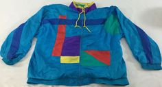 Vtg CASUAL ISLE 80's 90's Full Zip Active Color Block Windbreaker Jacket sz L #CasualIsle #Windbreaker