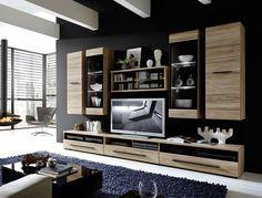 Wohnzimmerschrank echtholz ~ Trendteam hv wohnzimmerschrank wohnwand anbauwand eiche san remo