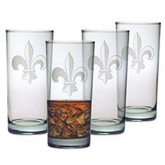$32.99 + $4.99 shipping SUSQUEHANNA GLASS FLEUR DE LIS COLLECTION HIBALL GLASSES, SET OF 4