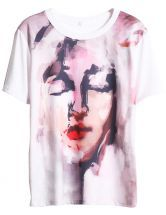 White Short Sleeve Character Print T-Shirt $21.64