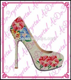 Aidocrystal white with flower pattern fashion thin high heel wedding shoes and bag