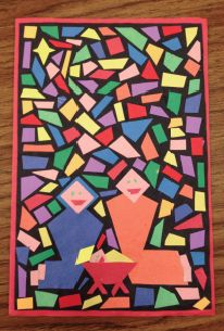 Geometry Quadrilateral Christmas Card Project...ooooh...could we do a spring mosaic instead?