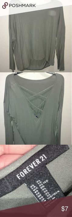 Forever 21 XL Army Green Long Sleeve Strappy Top Worn once, washed Forever 21 Tops Tees - Long Sleeve