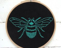 Bee embroidery kit - teal/jade bumblebee to stitch on black linen, inspired by a vintage bumblebee illustration