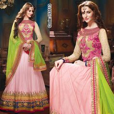 Look totally luscious in this #pink zari woven #Lehenga teamed up with #neon duppatta! #Multicolor #DesignerBlouse #FloralMotif #Volume #Layers #Embroidery #Designer #Occasion #IndianDresses #Partywears #Indian #Women #Bridalwear #Fashion #Fashionista #OnlineShopping