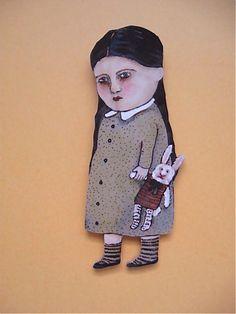 wood art doll Isabella Rabbit toy cut out wood by sandymastroni