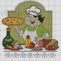 Bom dia meninas!  Hoje uma postagem especial para a amiga Amanda Lemos que me pediu gráficos para avental de cozinha, espero que goste amig...