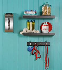 Create a corner to store all your pet's things- leashes, treats, shampoo, etc.