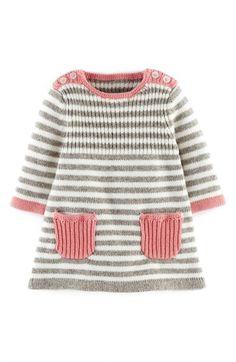 Baby Knitting Patterns Dress Mini Boden 'Stripy' Knit Dress (Baby Girls) available at Baby Knitting Patterns, Knitting For Kids, Baby Patterns, Free Knitting, Crochet Patterns, Baby Girl Dresses, Baby Girls, Baby Baby, Vintage Baby Dresses