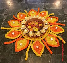 50 Most Beautiful Flower Rangoli Designs (ideas) that you can make during any occasion on the living room or courtyard floors. Rangoli Designs Flower, Rangoli Ideas, Rangoli Designs Diwali, Rangoli Designs With Dots, Rangoli Designs Images, Flower Rangoli, Beautiful Rangoli Designs, Rangoli With Flowers, Rangoli Photos