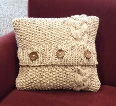 Chunky Celtic Inspired Seed and Cable Knit Pillow Cover; 16 inches x 16 inches by BeehiveCreation on Etsy Knit Pillow, Seed Stitch, Pillow Forms, Beehive, Craft Stores, Cable Knit, Hand Knitting, Wool Blend, Celtic