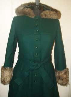 J.G. Hook Vintage Hooded Wool Coat Toggle Front Womens Size 12 ...