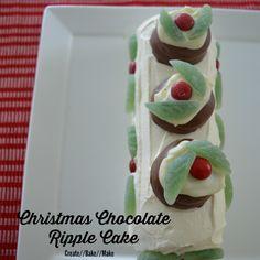 Christmas Chocolate Ripple Cake http://createbakemake.com/2014/12/10/christmas-chocolate-ripple-cake/