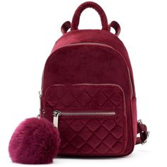 Candie's® Velvet Quilted Mini Backpack ❤ liked on Polyvore featuring bags, backpacks, backpack, accessories, purses, red, purple velvet bag, red bag, velvet mini backpack and red mini bag