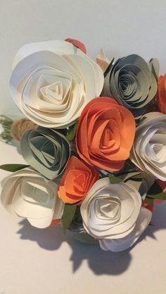 Light Orange Peach Grey and White Paper Flower Bouquet; FlowersByNini