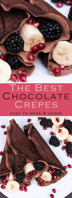 Chocolate Crepe Recipe from The Make Ahead Vegan Cookbook. These Vegan Crepes are so easy to make with simple ingredients you most likely already have in your pantry. Fill the crepes with fruit, jam, chocolate and more! #breakfast #dessert #am