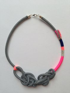 Surely Knot necklace neon pink on Etsy, $69.00 AUD
