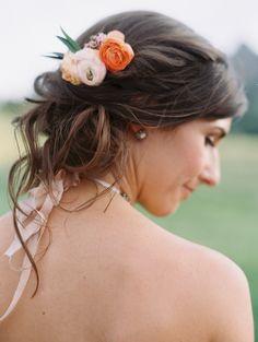 Bella Lu Floral. Blush and Orange Ranunculus Hair Accessory