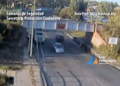A low bridge in Buenos Aries took a beating as two trucks struck the bridge, just moments apart.